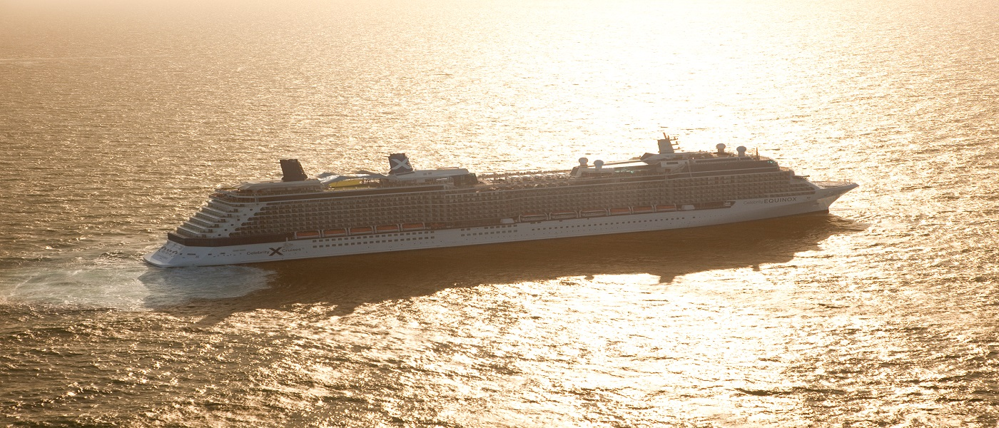 Celebrity Equinox, EQ, ship, Aerial at sea or ocean in UK near the Isle of Wright, sunrise or sunset
